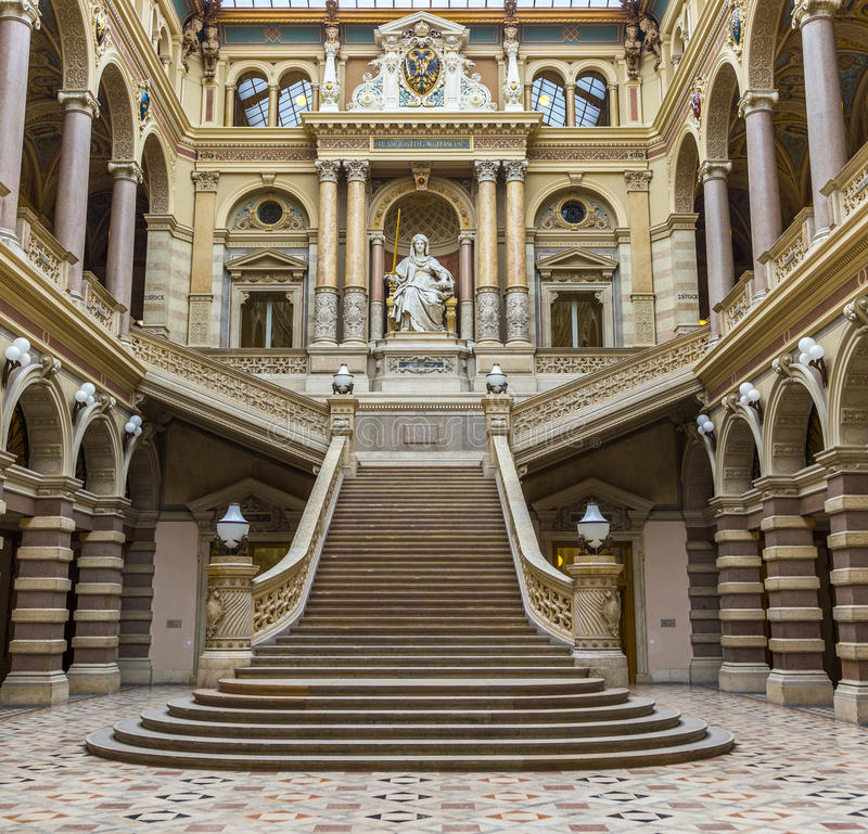 Neo renaissance building with statue Justice in the palace of J. VIENNA, AUSTRIA - APR 27, 2015: neo renaissance building with statue Justice in the palace of stock photos