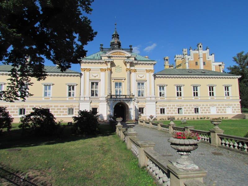 Neo-Renaissance chateau Svetla nad Sazavou with an access road stock images