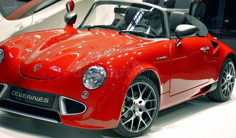 Neo-retro roadster PGO Cevennes. PARIS, FRANCE - OCTOBER 8: French car maker PGO Automobiles presents the Cevennes convertible a neo-retro roadster at Le Mondial royalty free stock images