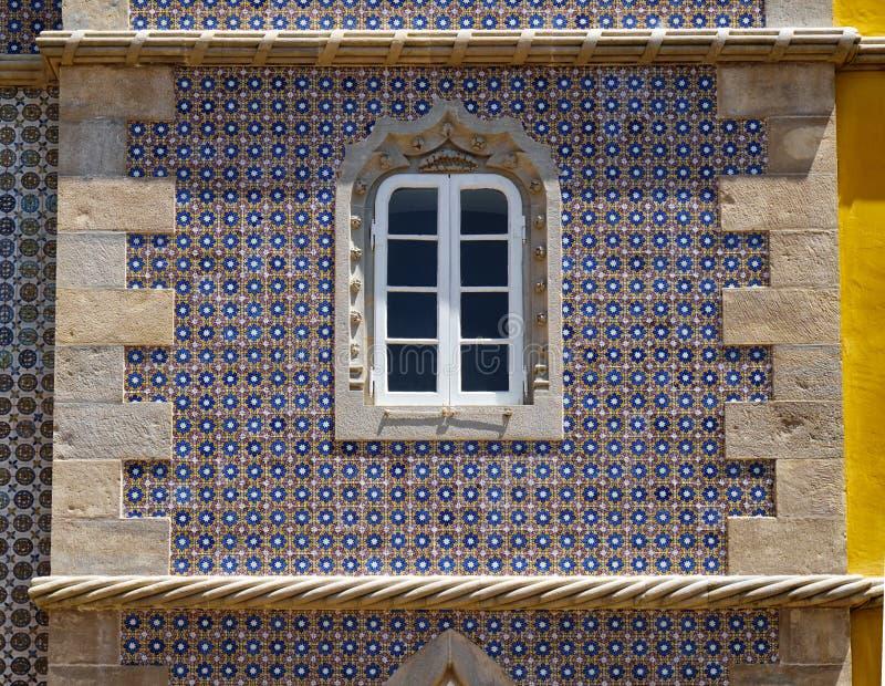 Neo stylowy okno pałac Pena Sintra Portugalia obraz royalty free