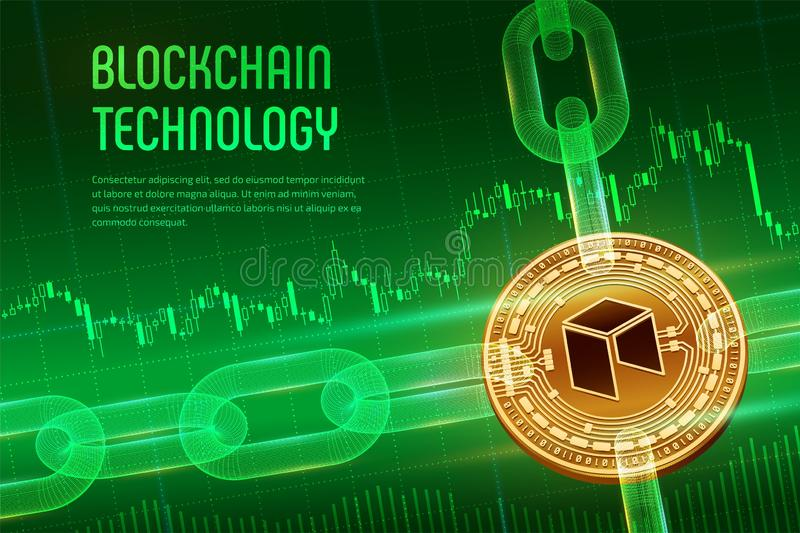 Neo Valuta cripto Catena di blocco moneta neo dorata fisica isometrica 3D con la catena del wireframe su fondo finanziario blu illustrazione vettoriale