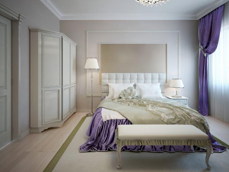 Neoclassic stijl van de gastslaapkamer royalty-vrije illustratie