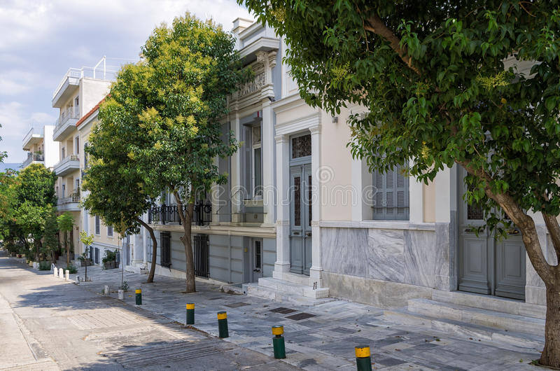 Neoclassical buildings, in Athens stock images