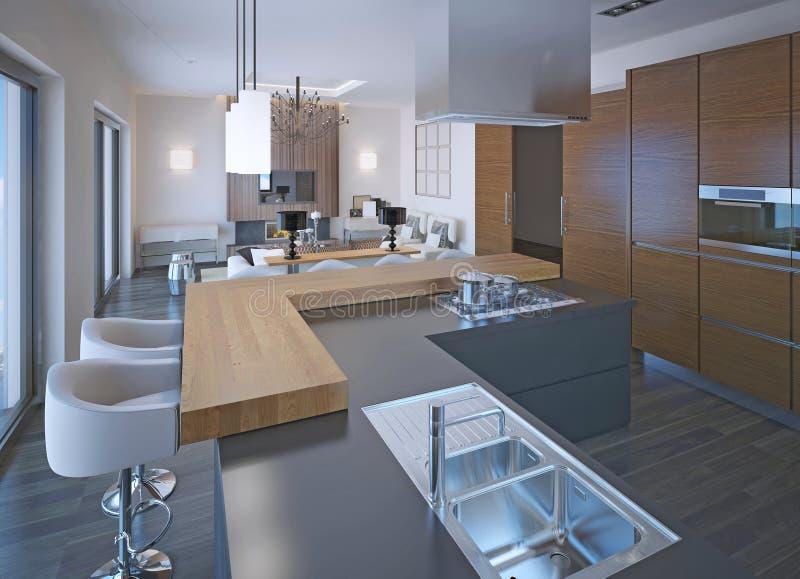 Neoclassical kitchen design stock illustration