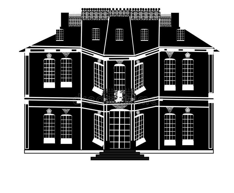Neoclassical mangårdsbyggnad royaltyfri illustrationer
