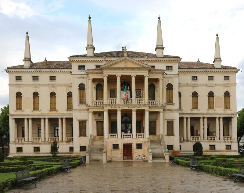 Neoclassical palace of town hall of Noventa Vicentina a small ci. Historical Neoclassical palace of town hall of Noventa Vicentina a small city in Veneto Region stock photography