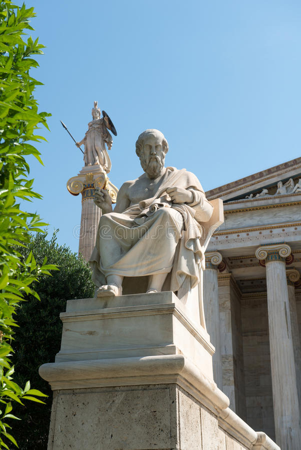 Neoclassical Statues Of Socrates And Athena Royalty Free