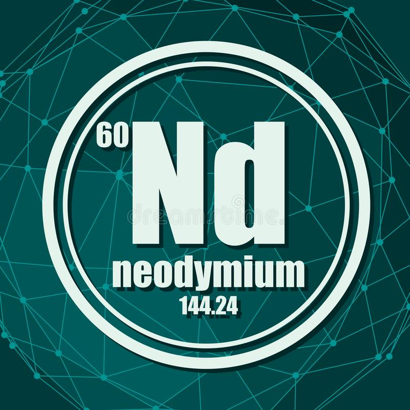 Neodymium chemisch element royalty-vrije illustratie