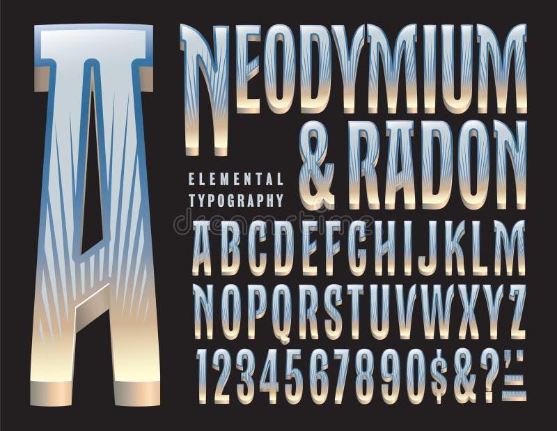 Neodymium- och Radonoriginalalfabet vektor illustrationer