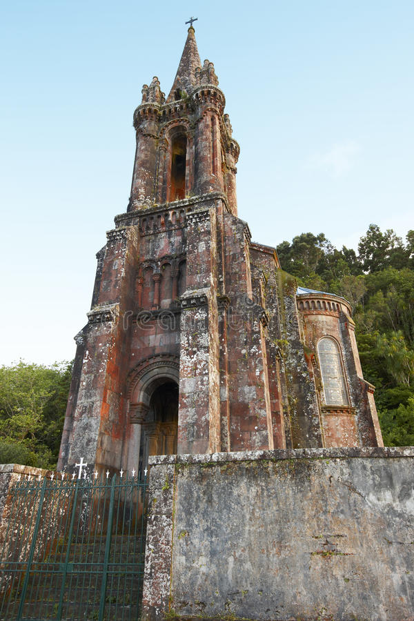 Neogothic chapel in Furnas lake. Sao Miguel. Portugal. Vertical royalty free stock images
