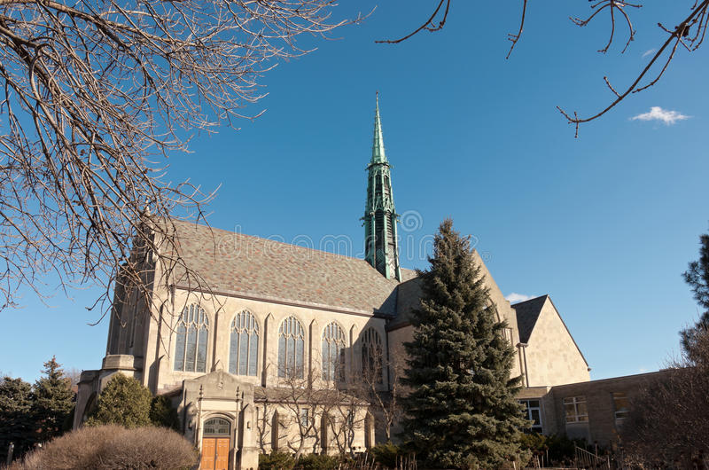 Neogothic Church and Courtyard in Saint Paul Minnesota stock photos