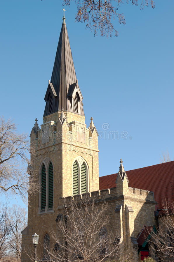 Neogothic Church Spire and Belltower royalty free stock photo