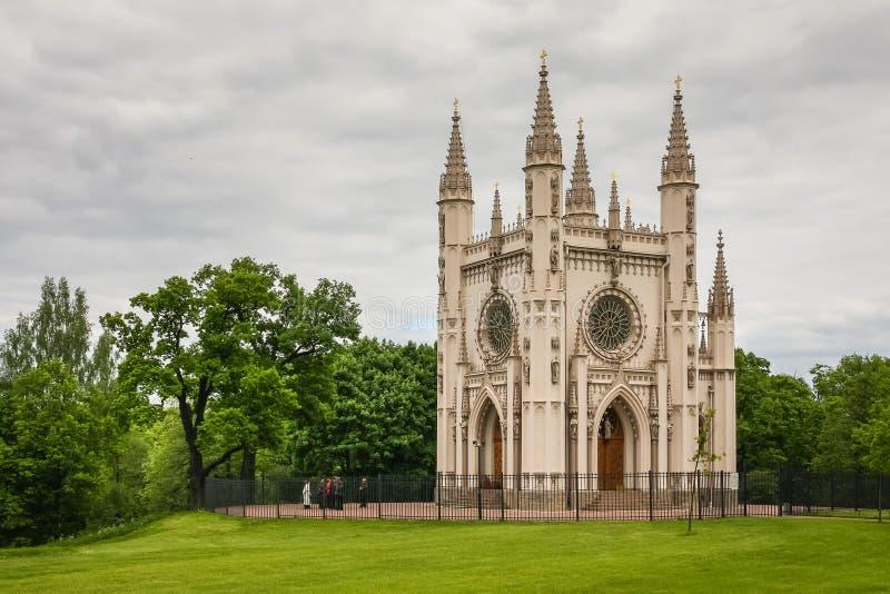 neogotyki kościół w Aleksandria parku, Peterhof, Rosja zdjęcie royalty free