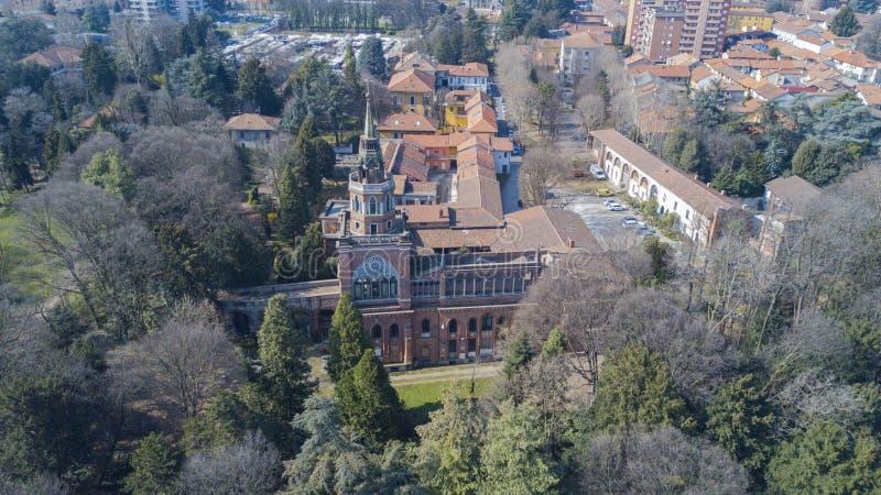 neogotyki wierza Desio, panoramiczny widok, widok z lotu ptaka, Desio, Monza i Brianza, Mediolan, Włochy obrazy royalty free