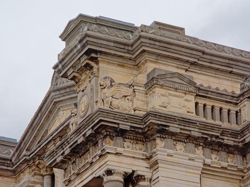 Neoklasyczny architektura szczegół pałac sprawiedliwość, Bruksela, Belgia fotografia royalty free