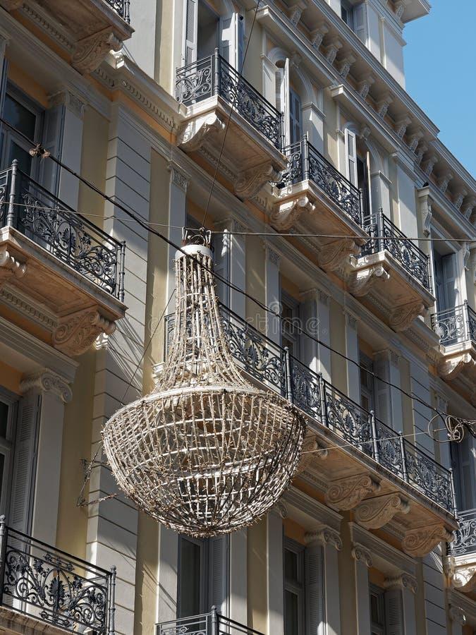 Neoklasyczny budynek, Ermou ulica, Ateny, Grecja zdjęcia royalty free