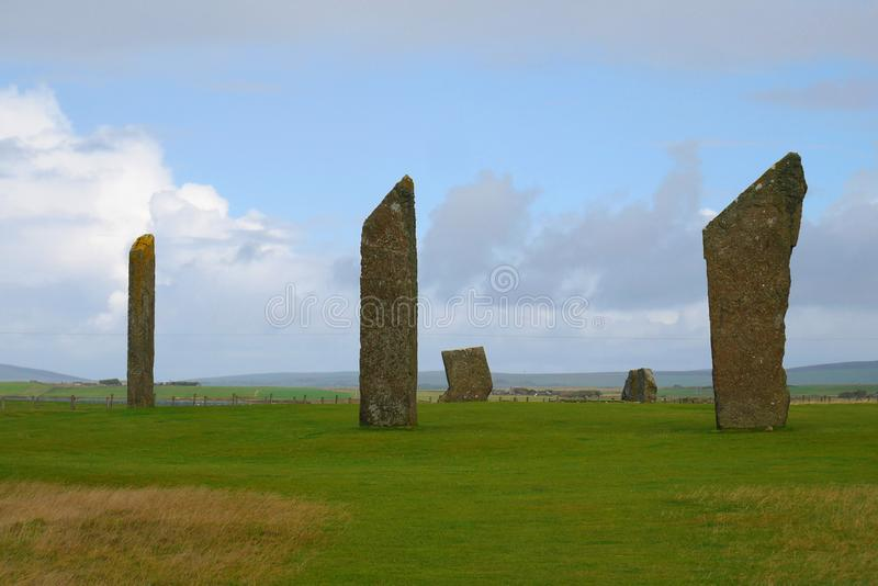 The Neolithic henge site, the Standing Stones of Stenness, Orkney, Scotland, UK royalty free stock photo