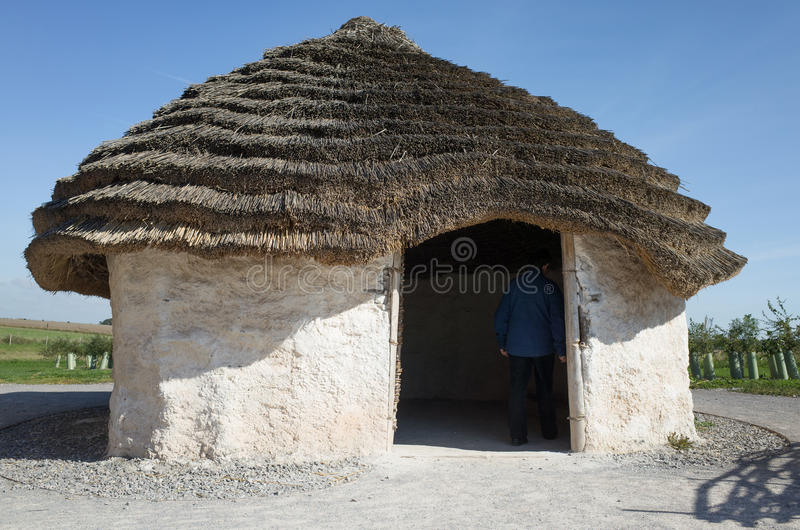 Neolithic house, Stonehenge, England. stock photo