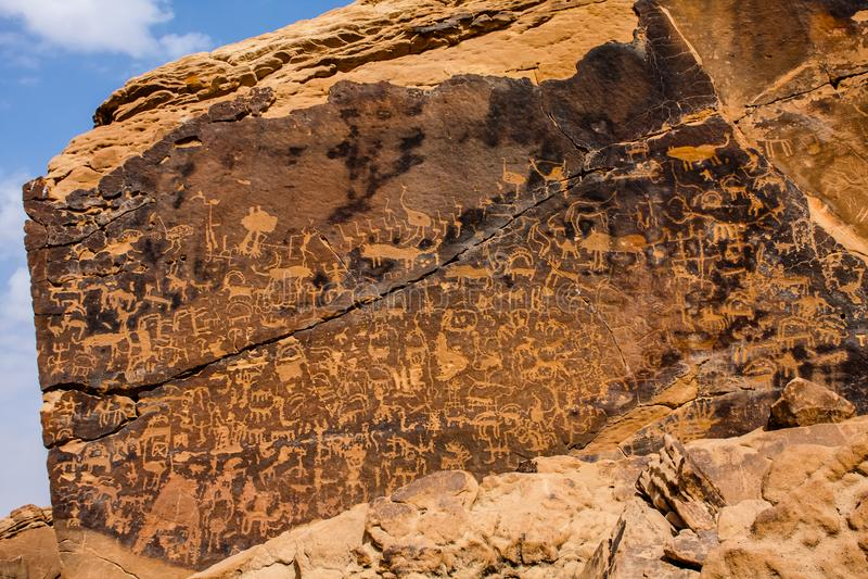 Musayqirah Petroglyphs, Riyadh Province, Saudi Arabia royalty free stock photography