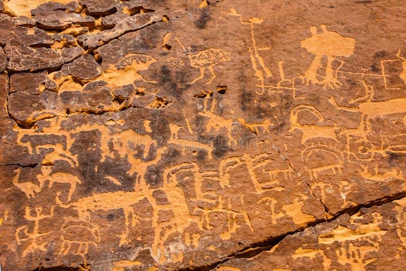 Musayqirah Petroglyphs, Riyadh Province, Saudi Arabia royalty free stock image