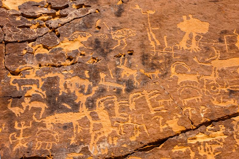 Musayqirah Petroglyphs, Riyadh Province, Saudi Arabia. Neolithic rock carvings in the desert some 200 km west of Riyadh royalty free stock image