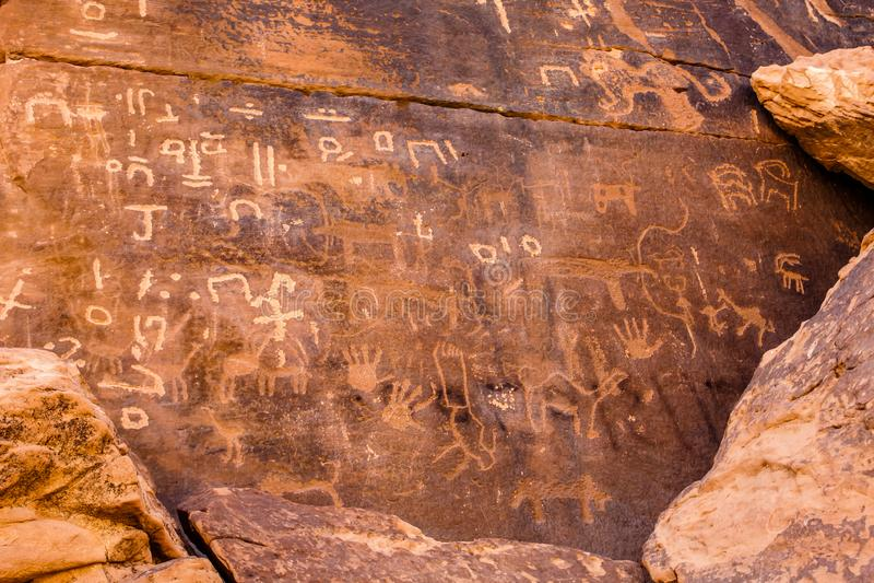 Musayqirah Petroglyphs, Riyadh Province, Saudi Arabia. Neolithic rock carvings in the desert some 200 km west of Riyadh stock images