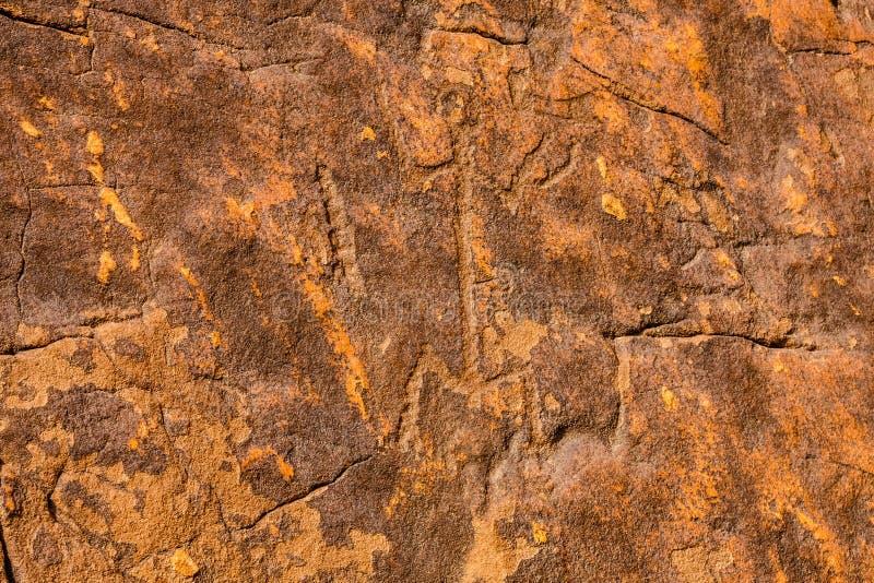 Musayqirah Petroglyphs, Riyadh Province, Saudi Arabia. Neolithic rock carvings in the desert some 200 km west of Riyadh stock photography