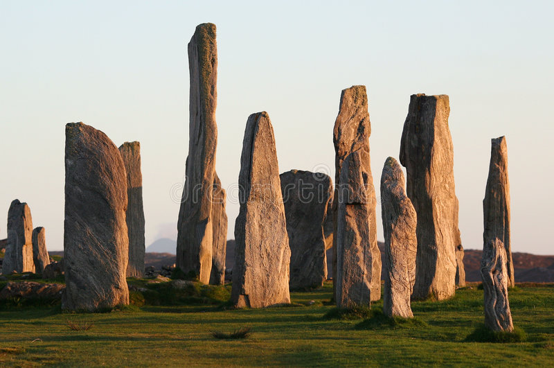 Neolithic Stone Circle. Standing stone circle at Callanish, Isle of Lewis, Outer Hebrides. Photographed in late evening sunlight stock images