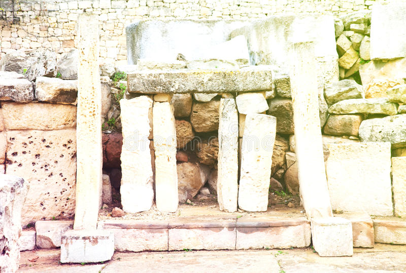 Neolithic Tarxien temples (3000 B.C.). Prehistoric Tarxien temples. Malta. Built approximately in 3000 B.C stock images