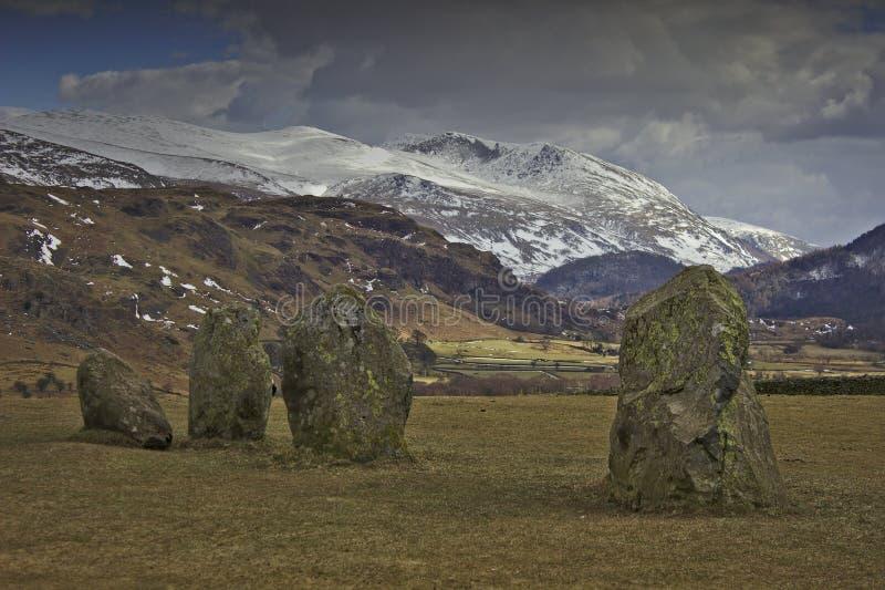 Neolithische Felsen in Cumbria stockbild