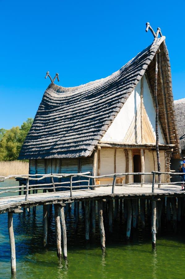 Neolityczni Jeziorni mieszkania Przy Jeziornym Constance zdjęcia stock