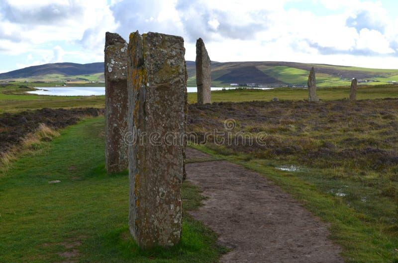 Neolityczny pierścionek Brodgar w wyspie stały ląd wyspa, Orkney archipelag, Szkocja zdjęcia stock