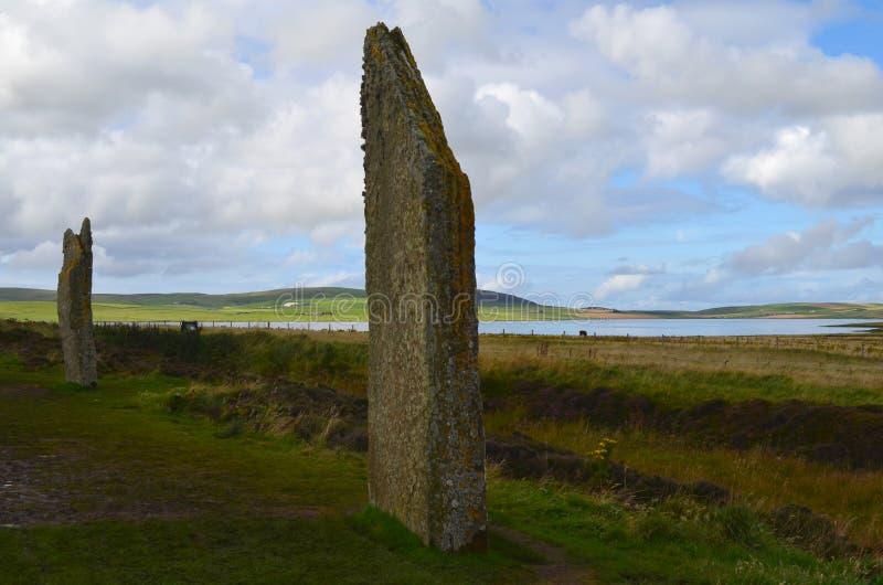 Neolityczny pierścionek Brodgar w wyspie stały ląd wyspa, Orkney archipelag, Szkocja fotografia royalty free