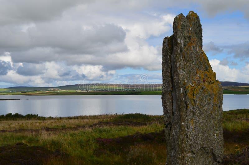 Neolityczny pierścionek Brodgar w wyspie stały ląd wyspa, Orkney archipelag, Szkocja obraz royalty free