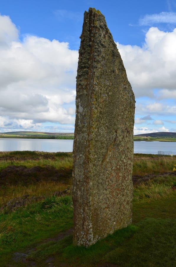 Neolityczny pierścionek Brodgar w wyspie stały ląd wyspa, Orkney archipelag, Szkocja obrazy stock