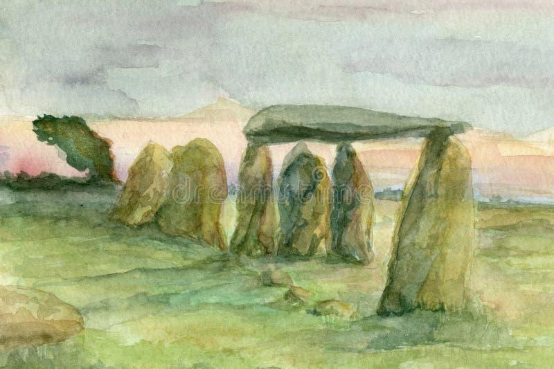 Neolthic, pedras eretas pré-históricas ilustração royalty free