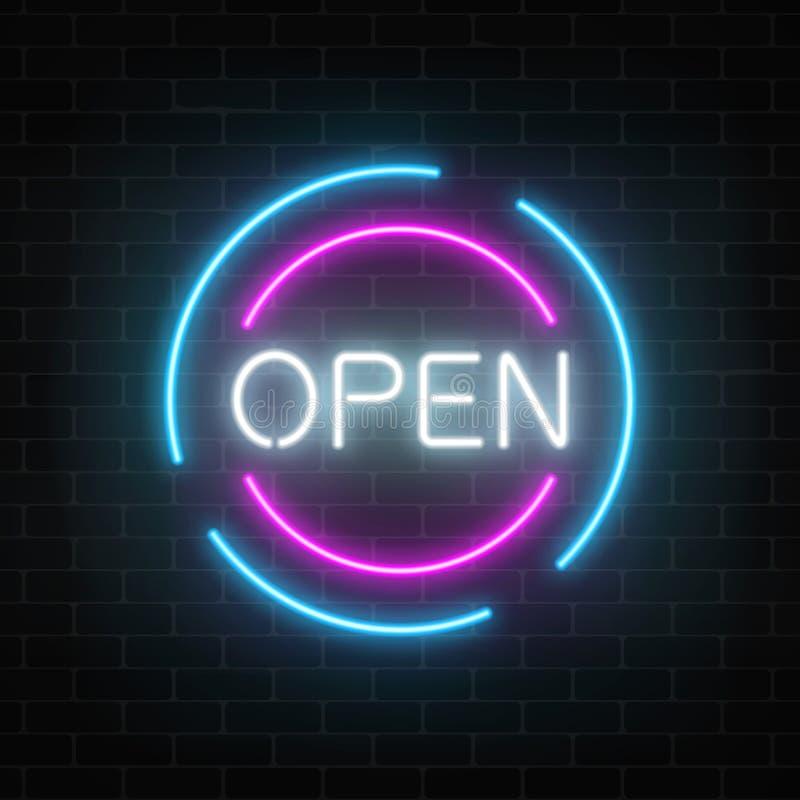 Neon öffnet 24 Stunden und 7 Tage in den Kreisrahmen unterzeichnen auf einem Backsteinmauerhintergrund Rund um die Uhr Arbeitsspe vektor abbildung