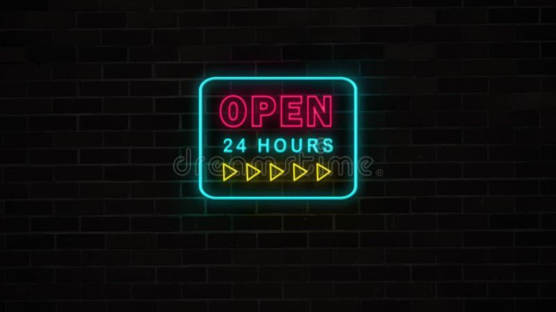 Neon öppnar 24 timmar undertecknar med gula pilar på grungetegelstenväggen royaltyfri illustrationer