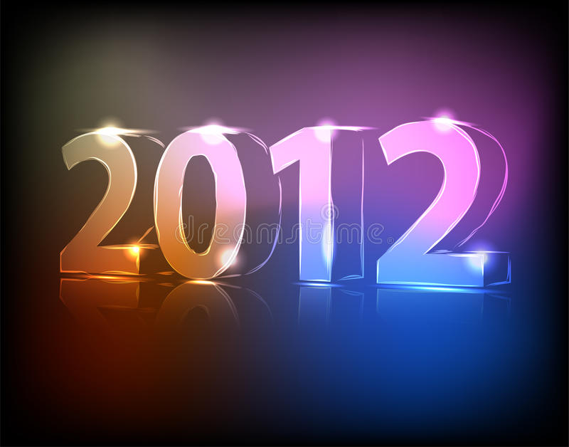 Neon 2012 year stock illustration
