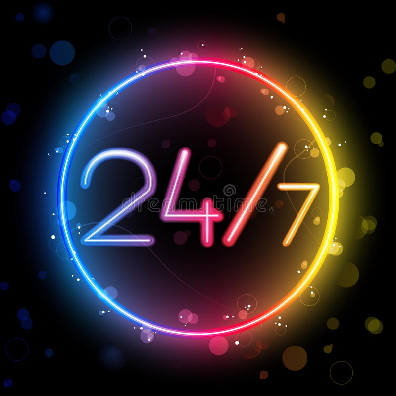 Download Neon 24/7 Rainbow Circle Stock Photos - Image: 19515713