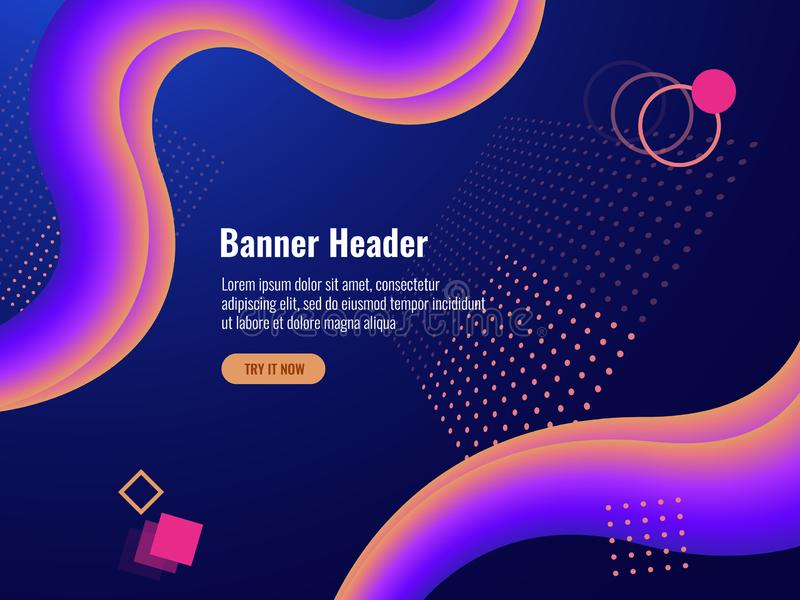 Neon abstract banner background, geometry objects lighting dark vector stock illustration