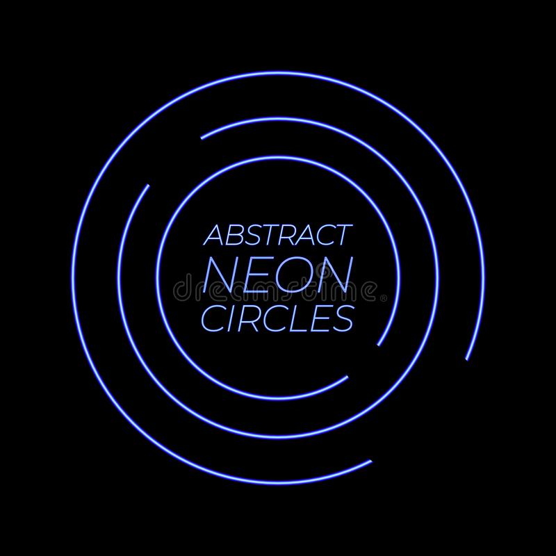 Neon Abstract Circles VECTOR glowing background template, bright blue neon lnes. vector illustration