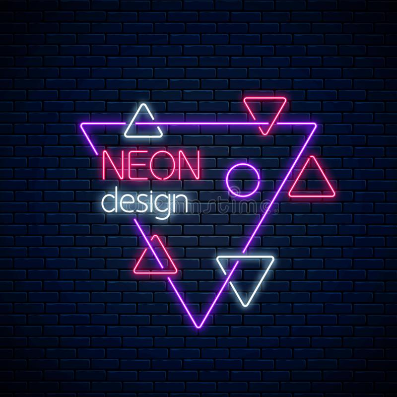 Neon abstract glowing design on dark brick wall background. Geometric background with triangles in neon style royalty free illustration