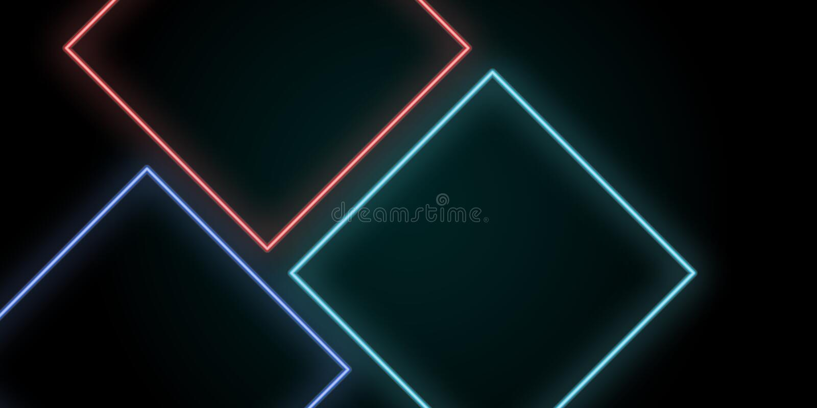 Neon abstract line light squares background. Vector royalty free illustration