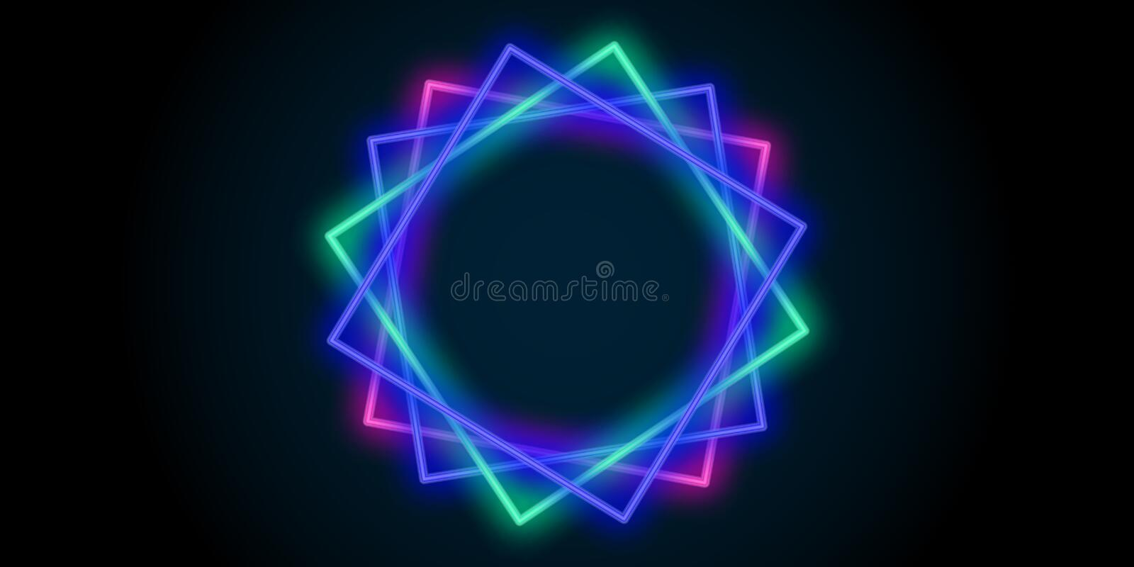 Neon abstract line light squares color background. Vector royalty free illustration