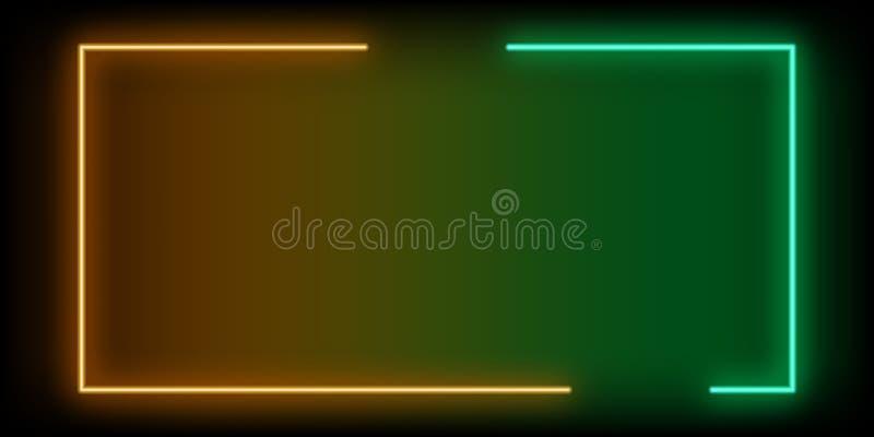 Neon abstract line orange green background. Vector vector illustration