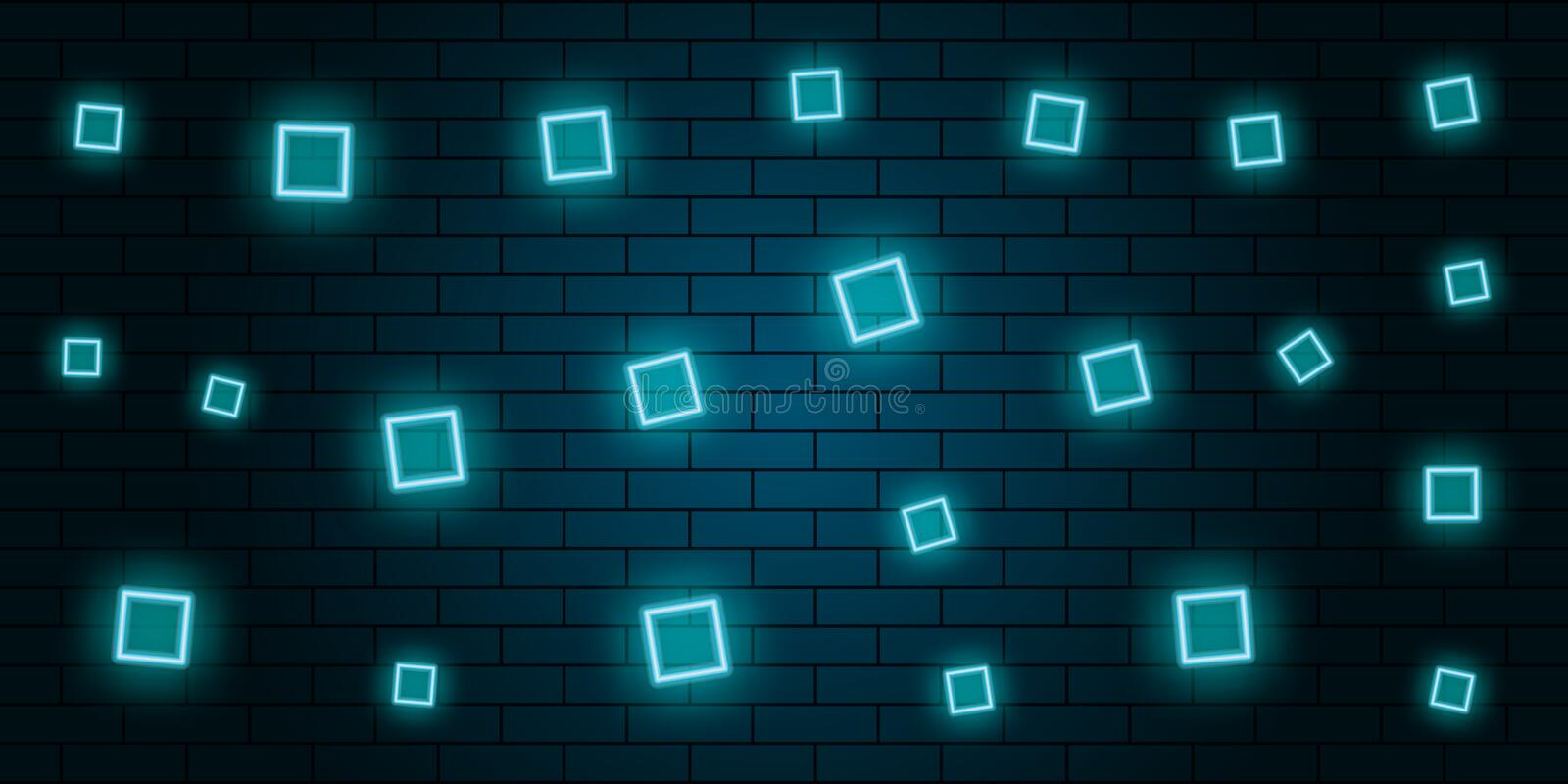 Neon abstract squares blue background. Vector vector illustration