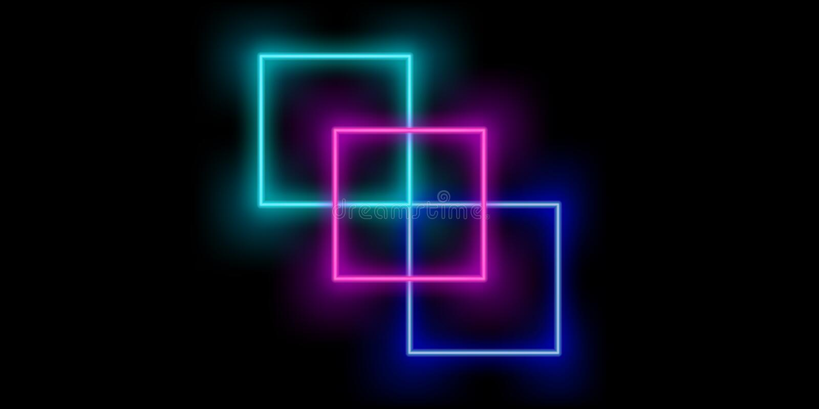 Neon abstract squares color background. Vector stock illustration