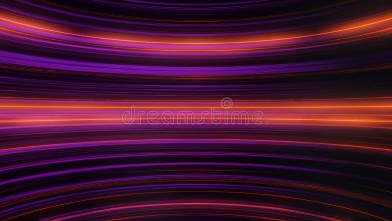 Neon abstracte achtergrond van lijnen animatie Cyclische beweging van neon horizontale pulserende lijnen Concept digitaal vector illustratie