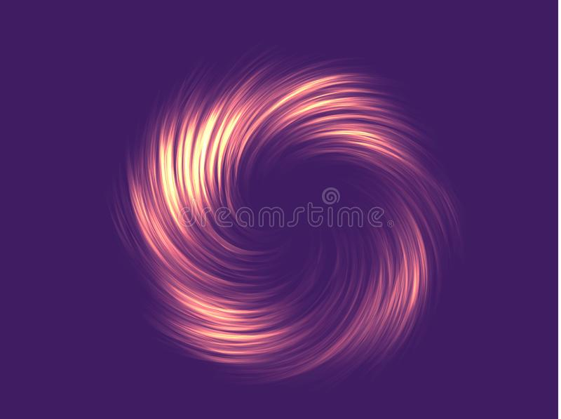 Neon abstraction, twisted in a spiral. Vector element, editable color. Modern neon abstract background. Vector Illustration royalty free illustration
